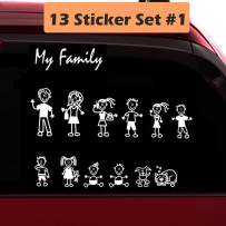 TOTOMO 13 Stick Figure My Family Car Stickers (Style#1) with Pet Dog Cat Family Car Decal Sticker for Windows Bumper