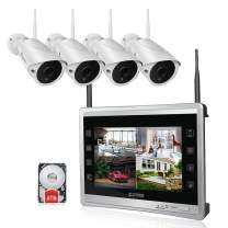 """Luowice 1080P Wireless Security Camera System with 11"""" Monitor HD 2MP 4CH Home Video Surveillance System Built in 2TB HDD Indoor Outdoor Waterproof CCTV WiFi Cameras with IR Night Vision"""