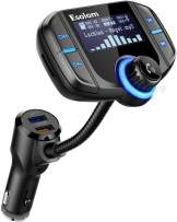 """Car Bluetooth FM Transmitter, ESHOWEE Wireless Car Stereo Radio Adapter Receiver, Hands-Free Calling Car Kit with 1.7"""" Display, QC3.0&Smart 2.4A Dual USB Ports, Support TF Card, AUX Input/Output"""