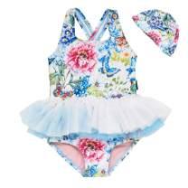 Baby Toddler Girl Swimsuit Unicorn Tutu Skirt Swimwear -One Piece Princess Swimwear Infant Bathing Suits for Girls Kids (Blue Tutu, 1-2T)