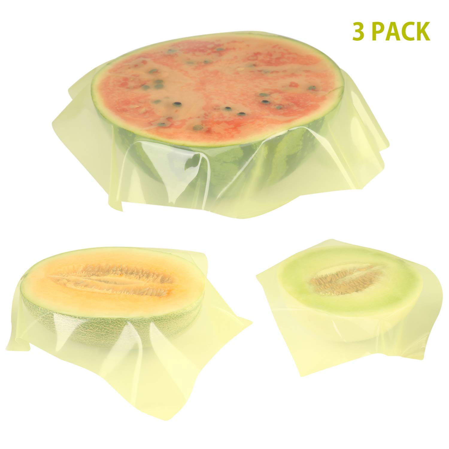 TOURIT Silicone Food Wraps 3 Pcs Eco-Friendly Reusable Food Wraps Sustainable Plastic Free Food Storage for Vegetable Fruit Snack Lunch 3 Sizes (S, M, L)