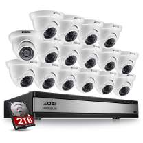 ZOSI 720p 16 Channel Security Camera System,16 Channel Hybrid HD-TVI 1080N CCTV DVR with (16) 1.0MP 720p(1280TVL) Night Vision Dome Surveillance Camera Outdoor Indoor (2TB Hard Drive Built-in)
