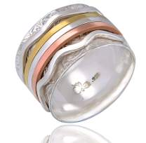 Energy Stone Movement Tri Color 5-Spinners Floral Patterned Sterling Silver Base Ring Meditation Spinner Ring (Style USA32)