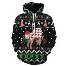Heymiss Unisex Hooded Ugly Christmas Sweater Hoodie 3D Digital Print Sweatshirts