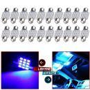 """cciyu 20 PCS 31mm(1.25"""") 2835 12-SMD 12v Blue Festoon Dome Light LED Bulbs De3175 De3021 De3022 3175"""