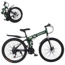 26 Inch Folding Mountain Bike Shimanos Folding Bikes for Men Women 21 Speed Full Suspension Disc Brakes Cruiser Bicycles Trek MTB [US in Stock]
