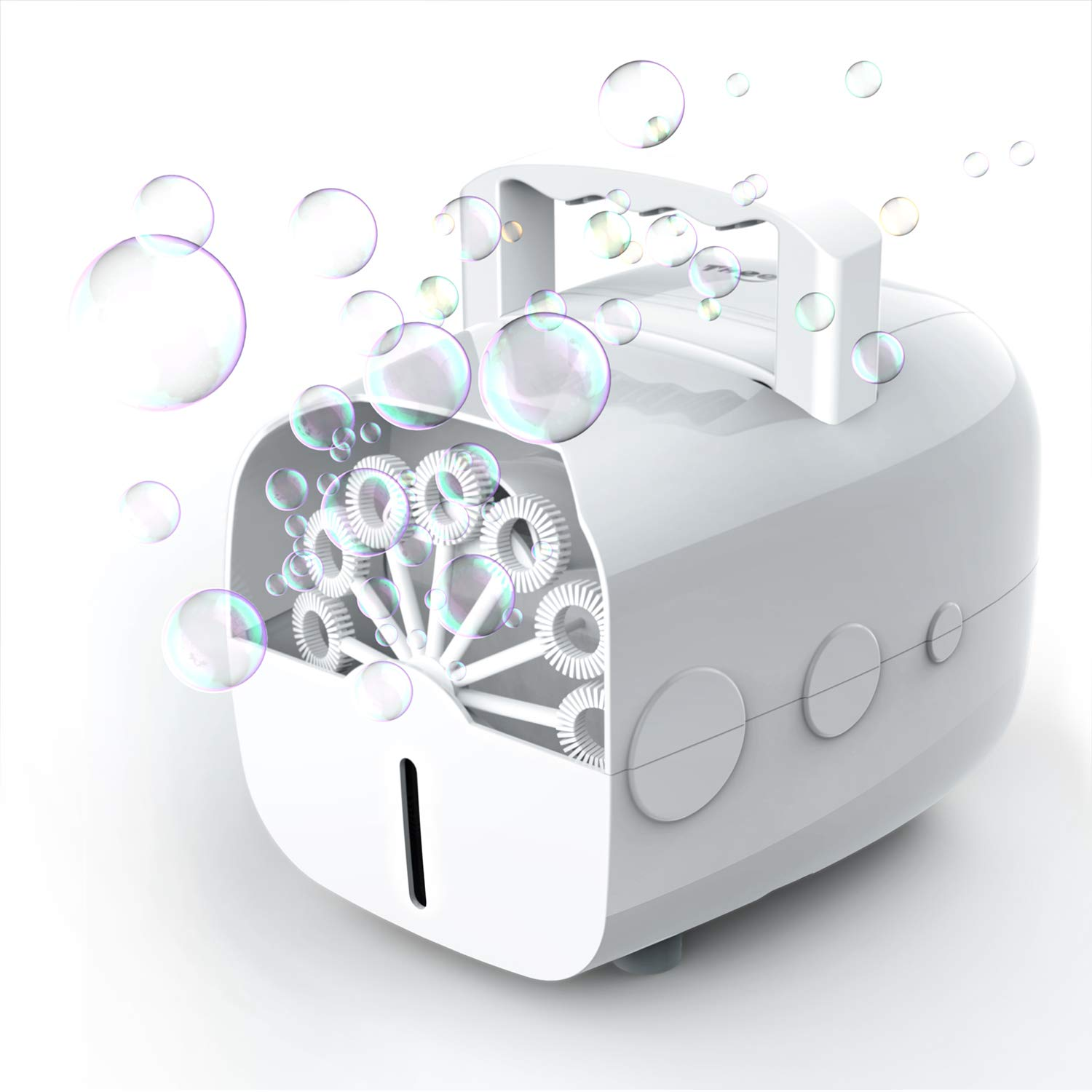 Theefun Portable Automatic Bubble Machine for Kids, Plug-in or Batteries Powered Bubble Blower for Outdoor/Indoor Use