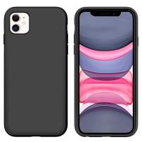 iPhone 11 Case GUAGUA Liquid Silicone Soft Gel Rubber Slim Lightweight Microfiber Lining Cushion Texture Cover Shockproof Protective Anti-Scratch Phone Case for iPhone 11 6.1-inch 2019 Black