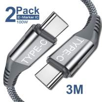 USB C to USB C 100W Cable [ 2Pack 3m],Sweguard 5A USB Type-C Fast Charger Nylon Braided Cord Compatible with MacBook Pro,MacBook Air/iPad Pro 2018,Samsung Galaxy S8 S9 Plus Note 10,Pixel 3 XL (Grey)