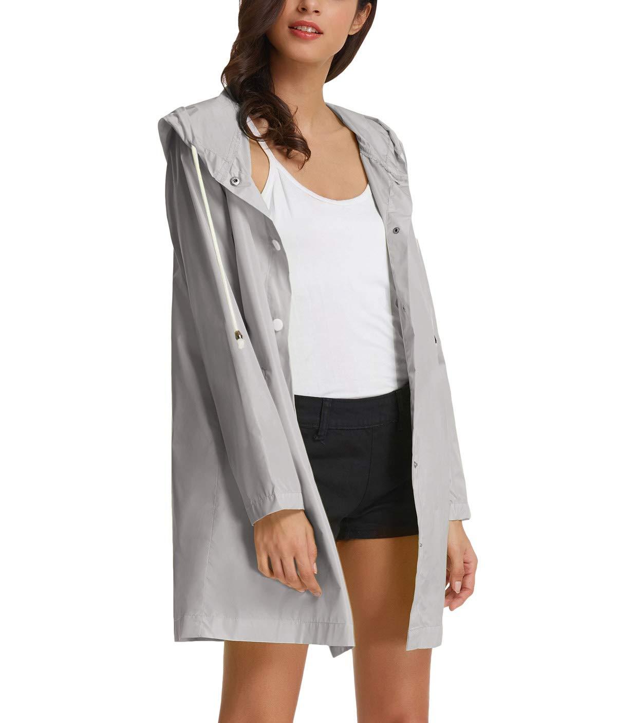 GRACE KARIN Active Lightweight Hooded Waterproof Outdoor Raincoat Jacket