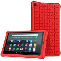 TiMOVO Case Fits All-New Fire 7 Tablet (9th Generation, 2019 Release) - Anti Slip Shock Proof Soft Silicone Shell Cover Kids Protective Case Fit Amazon Fire 7 Tablet - Red