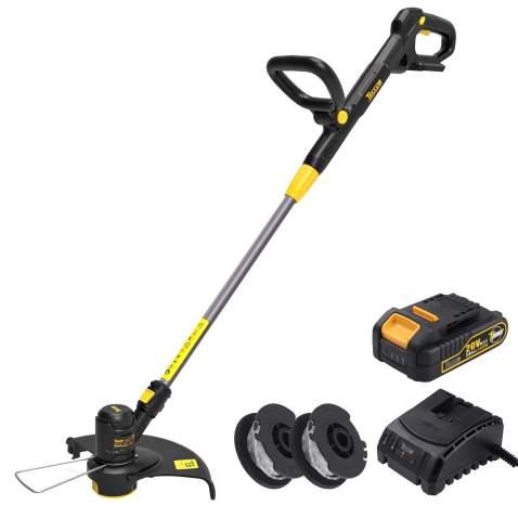 "TECCPO Cordless Grass Trimmer 20V 12"", Grass Trimmer Battery, Adjustable Handle, 2 Ah Battery, Charger- TDLT02G"