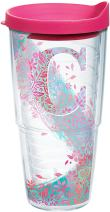 Tervis INITIAL-C Botanical Insulated Tumbler with Wrap and Fuschia Lid, 24oz, Clear