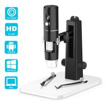 WiFi Microscope, VSATEN 50x to 1000x Wireless Digital Handheld Zoom Magnification Endoscope 1080P FHD 2.0 MP 8 LED Compatible with Android and iOS Smartphone or Tablet, Windows Mac PC Computer