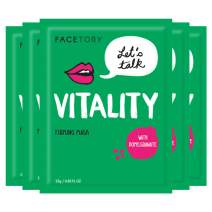FaceTory Let's Talk, Vitality Pomegranate Antioxidant Firming Mask - Lifting, Firming, and Hydrating (Pack of 5)