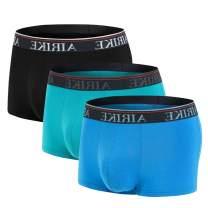 AIRIKE Boxer Briefs for Men Underwear Low Rise Mens Short Trunks Leg Pack Soft Bamboo Black Stretch Underpants