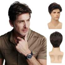 Kaneles Mens Wigs Short Curly Hair Brown Natural Synthetic Full Wig