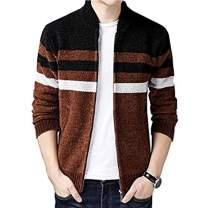 XinYangNi Men's Casual Slim Wide Stripes Full Zip Thick Knitted Cardigan Sweaters with Pockets