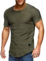 Nicetage Mens Fashion Tops Casual Short Sleeve T-Shirt Hipster Crew Neck Summer Shirt Curved Hem Tee