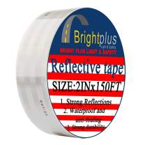 """Brightplus 2""""x 150' DOT Conspicuity Tape Dot Class 2 Reflective Tape Roll Adhesive Sticker For Cars, Trucks, Trailers, RV's, Campers, Boats, or Mailboxes (White)"""