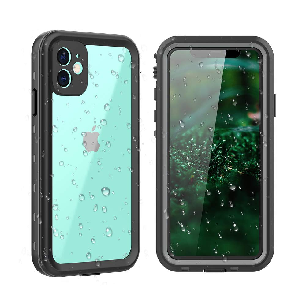 """iPhone 11 Waterproof Case,Clear Full Sealed Support Wireless Charging Rugged Shockproof Dropproof Case IP68 Certified Waterproof Cover for iPhone 11(6.1"""",2019)(Clear&Black)"""
