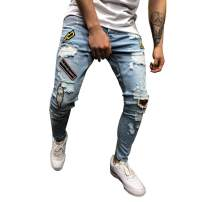 Men's Skinny Ripped Distressed Destroyed Slim Fit Stretch Biker Jeans Teen Boy Fashion Washed Denim Pants with Holes