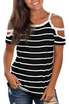 Jescakoo Summer Cold Shoulder Tops for Women Crew Neck T Shirts