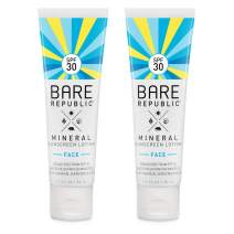 Bare Republic Mineral Face Sunscreen Lotion. Lightweight, Unscented and Water-Resistant Face Moisturizer, 1.7 Ounces - 2 Pack.