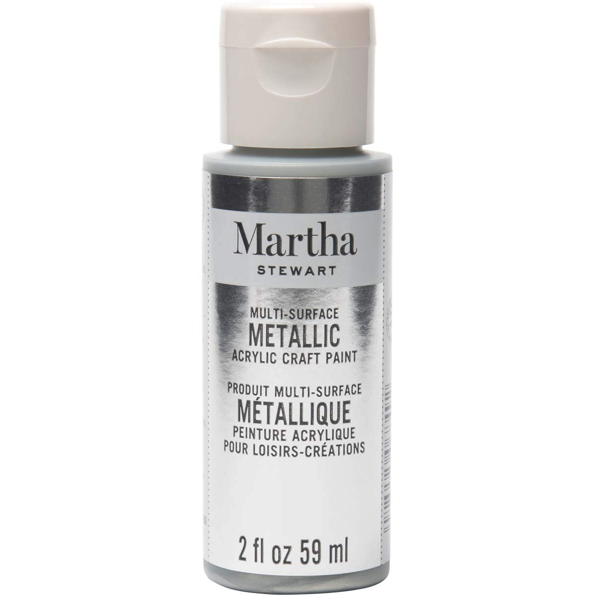 Martha Stewart Crafts Multi-Surface Metallic Craft Sterling, 2 oz Paint