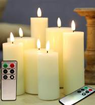 """Eywamage Realistic Flat Top Flameless Pillar Candles with Remotes, Tall LED Battery Candles Set of 7 Ivory, D 2"""" H 4"""" 5"""" 6"""" 7"""""""