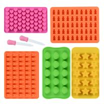 Chocolate Molds Gummy Molds Silicone - Candy Mold and Silicone Ice Cube Tray Nonstick Including Hearts, Stars, Shells