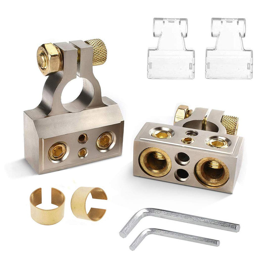 SUNMORN Battery Terminal Connector, 0/4/8/10 Gauge Heavy Duty AMP Car Battery Terminals Connectors, Shims Positive & Negative, with Special Tools, 1 Pair