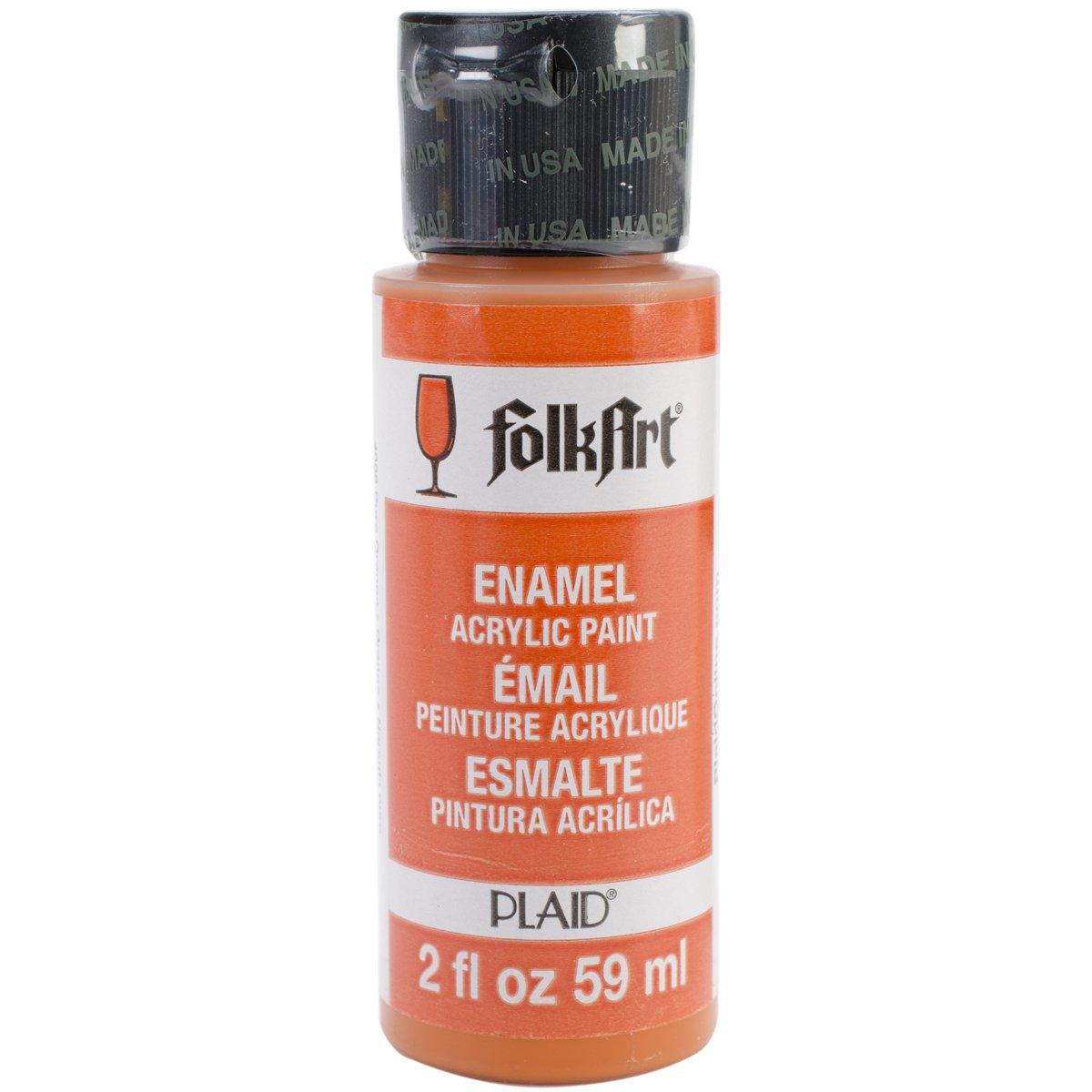 FolkArt Enamel Glass & Ceramic Paint in Assorted Colors (2 oz), 4008, Pure Orange
