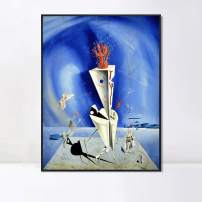 """INVIN ART Framed Canvas Apparatus and Hand, 1927 by Salvador Dalí Wall Art Living Room Home Office Decorations(Black Slim Frame,24""""x32"""")"""