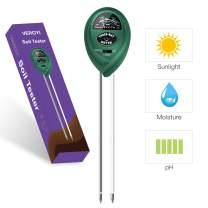 Veroyi Soil pH Meter, 3-in-1 Plant Soil Moisture Sensor pH Light Tester for Gardener (Green)