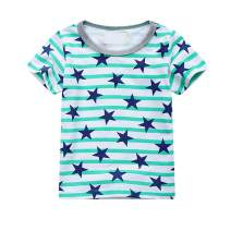 Toddler Kids Boys Girls 4th of July Short Sleeve Striped T Shirt Tops with Stars