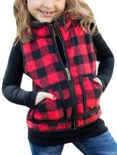 Girls Vest Cute Plaid Buffalo Puffer Quilted Jackets Fall Clothes Winter Warm Lined Gilet