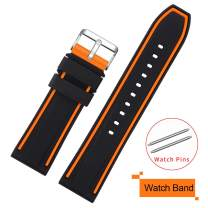 COHOLL Silicone Watch Bands - Quick Release Straps - Choose Color & Width - 20mm, 22mm, 24mm, or 26mm - Soft Silicone Rubber Replacement Watch Band (Orange with Black, 26mm)