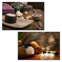 """wall26 - 2 Panel Canvas Wall Art - Spa Still Life with Candles - Giclee Print Gallery Wrap Modern Home Decor Ready to Hang - 16""""x24"""" x 2 Panels"""