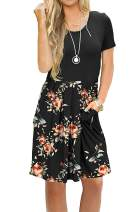 AUSELILY Women's Short Sleeve Pleated Loose Swing Casual Dress with Pockets Knee Length (XS, Black Rose Black)