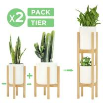 2 Pack Indoor Plant Stands, 2 Tier Tall (30 inches) Mid Century Modern Bamboo Wood Plant Stand, Adjustable Width 8 to 12 inches, Fits Pot Size of 8 9 10 11 12 inches (Pot & Plant Not Include), Natural