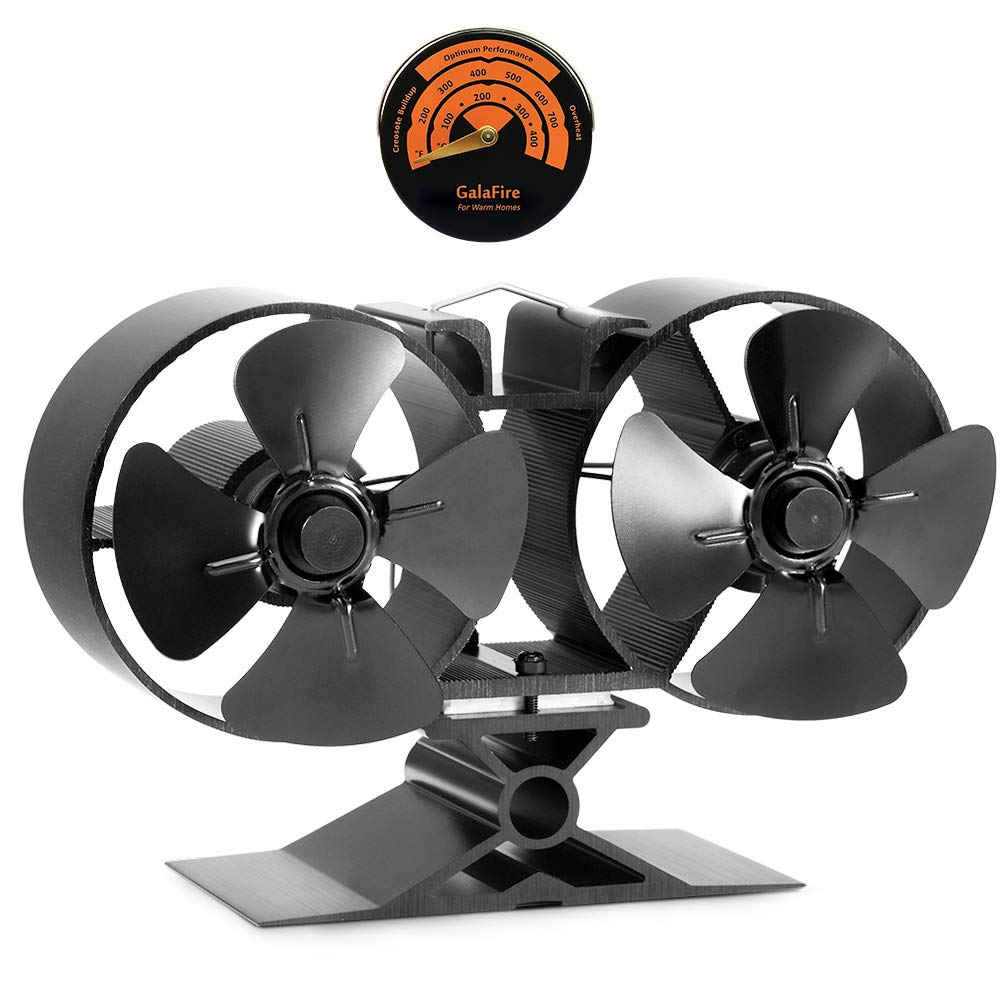 GALAFIRE Wood Stove Fan 8 Blades Twin Motors Heat Powered Eco Stove Fan Fuel Cost Saving for Gas Coal Pellet Log Wood Burner Fireplace Accessories with Free Magnetic Stove Thermometer [ 2 Years ]