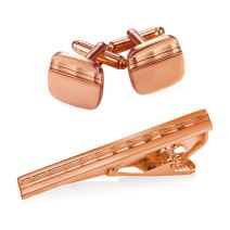 U7 Men Tie Clips for Wedding Anniversary Tie Clip Cufflinks Platinum/Black/Gold/Rose Gold Regular Tie Bar 1-6 Pcs,Customizable