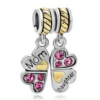 CharmSStory Mom Mother Daughter Forever Love Synthetic Heart Dangle Charms Bead for Bracelet