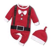 Baby Boy Girl Clothes My First Christmas Outfits Long Sleeve Elk Santa Romper Plaid Footless Onesies Bodysuit