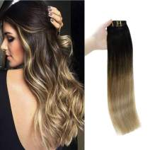 Full Shine 22 Inch Pastel Clip In Hair Extensions Balayage Remy Hair Extensions Clip Ins Dark Brown Color 2 Fading to 8 Ash Brown and 22 Blonde 120 Gram 10 Pcs Per Set Clip In Human Hair