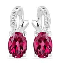 JewelPin Oval Shape Natural Gemstone Sterling Silver Earrings for Women