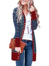 Famulily Women's Snap Button Down Long Sleeve V-Neck Soft Knit Long Cardigan Sweater