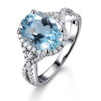 Genuine Aquamarine Fashion Gemstone 14K Diamond Promise Wedding Engagement Bridal Women's Ring Set