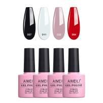 AIMEILI Gel Nail Polish Soak Off UV LED Gel Nail Lacquer Combo Color Set Of 4pcs X 10ml - Kit Set 19